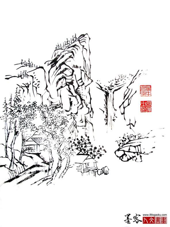 晏中国画山水墨稿