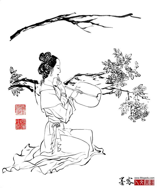 张晏中国画手绘白描仕女图